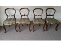 4 antique dining chairs with upholstered seats