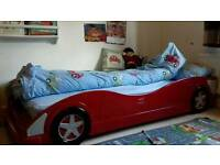 Childs Single Red Car Bed