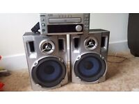 Cd player and huge speakers...