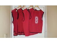 10 x USED Mens Red Mesh Sports Training Bibs for Football, Rugby, Basketball | Adults 100% Polyester