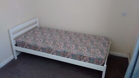Single bed, wood frame, with mattress, good condition