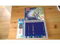 Watercolour pencils. Inktense 24+ waterbrush
