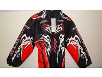 wulfsport jacket motocross motox quad youth kids junior black red size 34 approx age 13