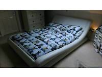 White double leather sleigh bed