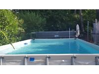 "Swimming Pool 24' x 12' x 52"" - Bestway Steel Pro Rectangular Pool with pump/sand filter & heat pump"