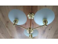 Ceiling Light - Gold Colour– 3 Opaque Glass Uplighters