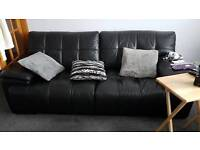 Large 3 seater black leather couch