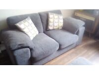 Grey fabric sofas 3 seater 2 seater and footstool VGC