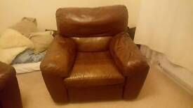 Two Beautiful Leather Recliner Armchairs For Sale