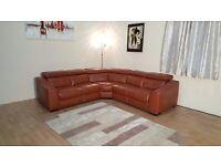 Ex-display Elixir tan leather standard/electric recliner corner sofa