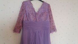 Lilac/pale pink lace and viscose dress size 16