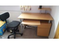 Small office desk and office chair