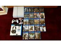Ps4 500gb with 2 controllers. Turtle beach headset. 19 games