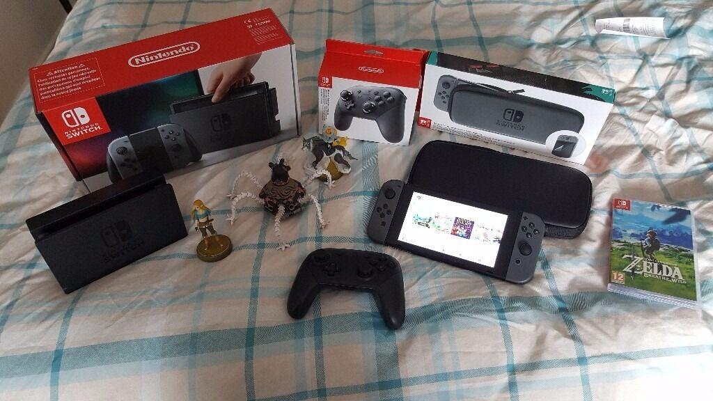Grey Nintendo Switch 32gb Pro Controller Carry Case Zelda