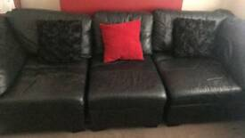 3 seater settee black faux leather.