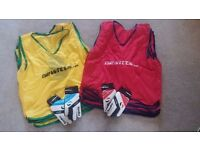Football Training Bibs and Goalie Gloves