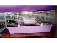 used indoor pink ferplast rabbit guinea pig cage