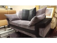 ATTRACTIVE GREY AND BLACK FABRIC 3 SEATER AND TWO SEATER SOFAS GREAT CONDITION