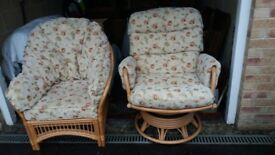 Cane swivel rocking chair and matching chair