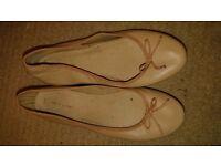 Beige, flat shoes. Size 8