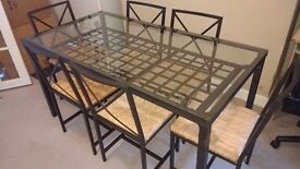 IKEA Black Glass Dining Table and 6 Chairs
