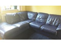 RIGHT FACING BLUE LEATHER CORNER SOFA
