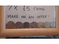 7 x £5 coins