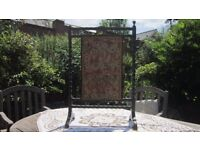 Antique fire screen stained oak inner fabric inset need of renovation