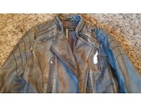 Ladies grey black leather jacket size 14/16