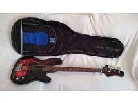 Jaxville PB Style Custom Demon Bass Guitar + Rok Sak Gig Bag