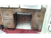 Desk retro dark wood