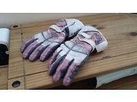 Ladies pink motorbike gloves size medium