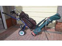 Full set golf clubs, electric battery golf trolley, lightweight carry bag and golf balls