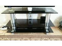 table for tv glasses black good condition