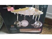 Saucepan/pot ceiling mounted wooden rack by Masterclass