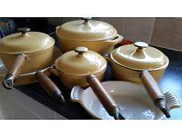 Set of cast iron saucepans