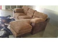 BRAND NEW 3 THREE SEATER CHAISE CORNER BROWN DESIGNER CORDED SOFA - FREE DELIVERY