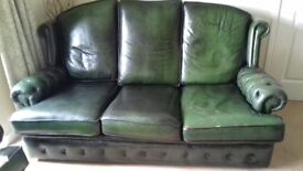Leather 3 seat sofa and arm chair