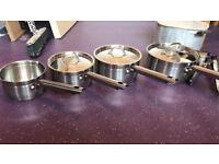 Vintage stainless steel saucepans from Woolworths, stock pot, frying pan & deep Pyrex frying pan