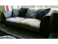Black and grey faux leather sofa / settee