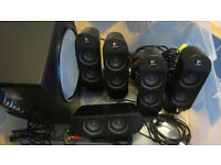 LOGITECH 5.1 SURROUND SOUND SPEAKER SYSTEM WITH ACTIVE SUBWOOFER.