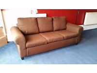 For sale 3 seater brown sofa Glasgow £75