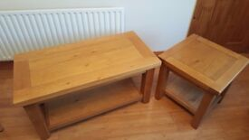 Solid oak coffee table and matching side table