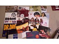 """35 Hip hop vinyls 12"""" singles."""