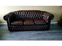 3 plus 2 seater leather chesterfield sofas