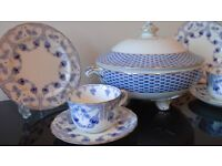 Stunning Blue Art Deco china tea set with tureen. Ideal for Vintage Tea Party, Wedding or Dresser.