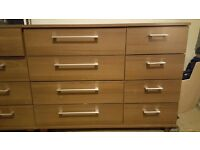 Bedroom furniture, full set includes wardrobe, 2 X 8 drawer chest and 2 X bedside drawers