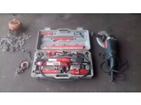 """GARAGE CLOSING DOWN - VARIOUS ITEMS FOR SALE inc 4T PORTA-POWER, 9""""GRINDER/CUTTER & BLOCK+TACKLE"""