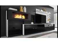 Living room furniture set with built-in biofuel fireplace