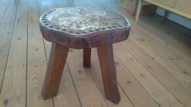 Solid oak milking stool